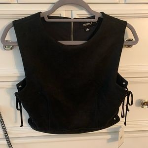 NWT Suede crop top with tie sides
